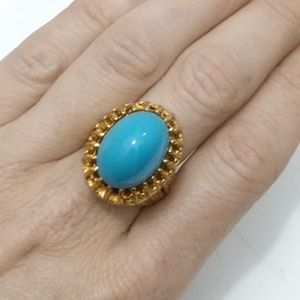 Vintage Jewelry - Vintage High Turquoise Cabachon & Gold Ring- 7